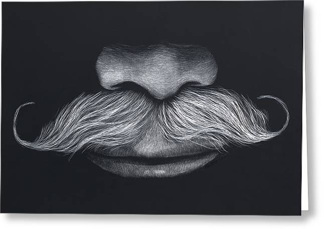 Quartet Mixed Media Greeting Cards - Dougs stache Greeting Card by Kathleen McCarthy