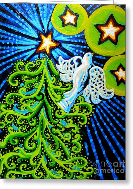 Mother Gift Greeting Cards - Dove and Christmas Tree Greeting Card by Genevieve Esson