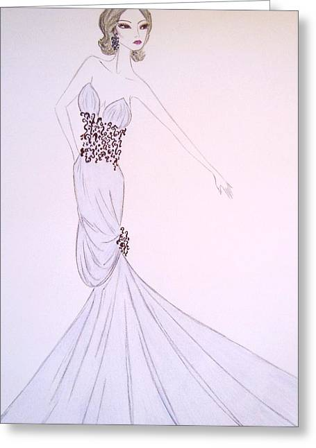Ball Gown Greeting Cards - Dove Blue Gown Greeting Card by Christine Corretti