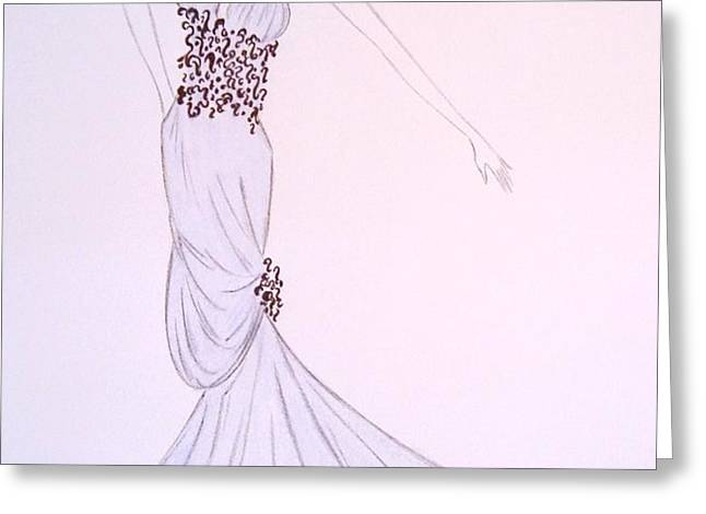 Dove Blue Gown Greeting Card by Christine Corretti