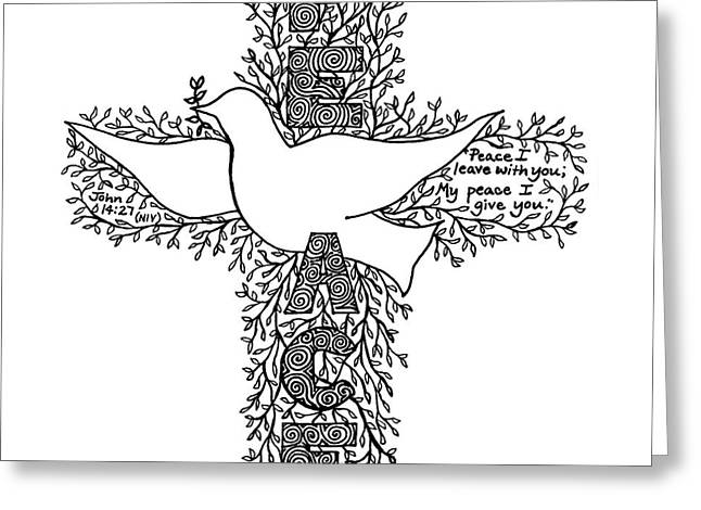 Pen And Paper Greeting Cards - Dove Cross Greeting Card by Leigh Eldred