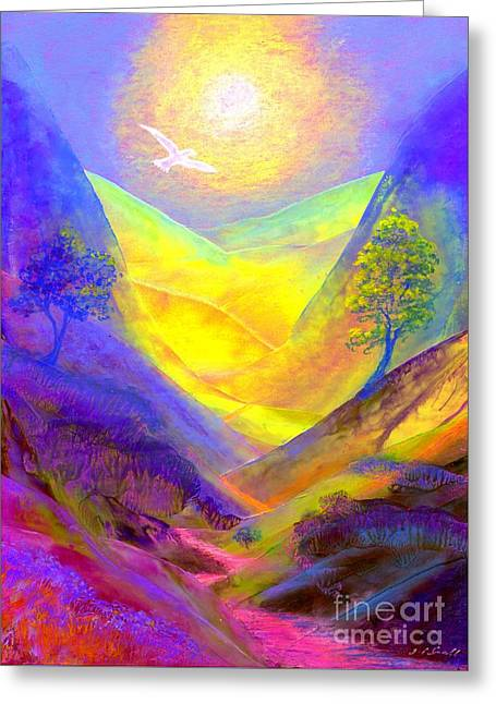 Spiritual Paintings Greeting Cards - Dove Valley Greeting Card by Jane Small