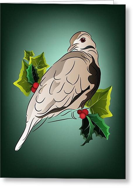 Berry Greeting Cards - Dove with Ivy and Holly Greeting Card by MM Anderson