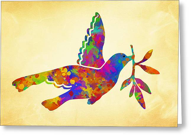 Olive Branch Greeting Cards - Dove With Olive Branch Greeting Card by Christina Rollo