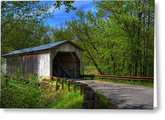 Roadway Greeting Cards - Dover Covered Bridge Greeting Card by Mel Steinhauer