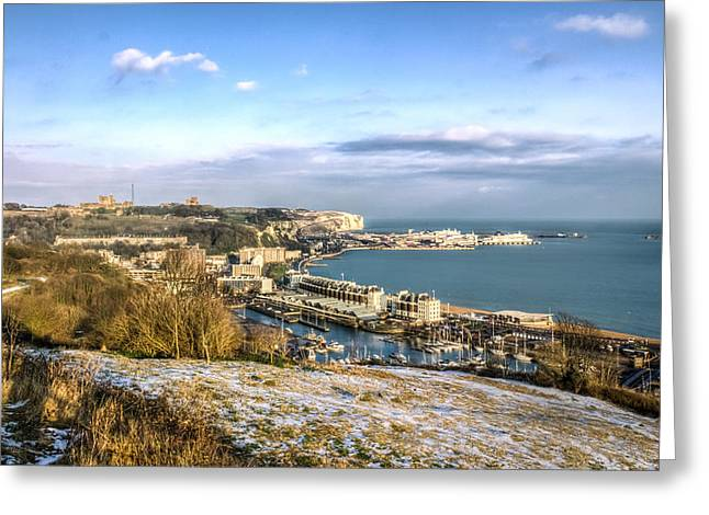 Port Kent Greeting Cards - Dover docks Greeting Card by Ian Hufton