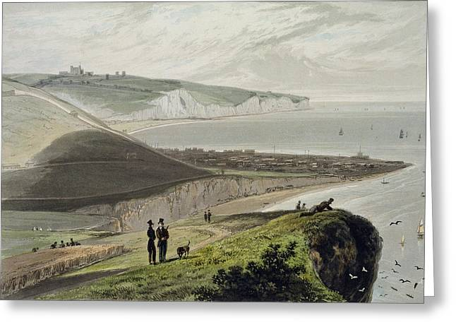 Dog Walker Greeting Cards - Dover, From Shakespeares Cliff, From A Greeting Card by William Daniell