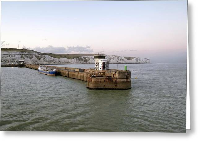 Port Kent Greeting Cards - Dover Harbour, UK Greeting Card by Science Photo Library