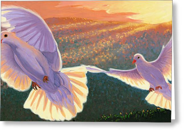 Olive Branch Greeting Cards - Doves and Olive Branch Greeting Card by Steve Simon