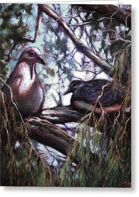 Dove Pastels Greeting Cards - Doves at home Greeting Card by Patricia Jaggie
