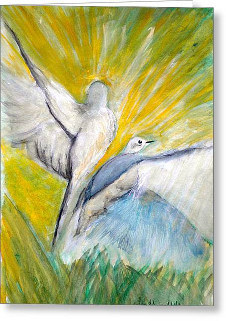 Doves At Sunrise Greeting Card by Linda Waidelich