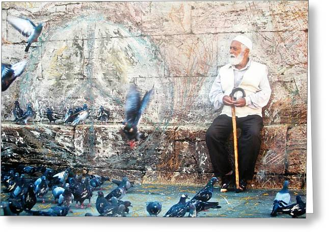 Istanbul Mixed Media Greeting Cards - Doves of Istanbul Greeting Card by Lesley Fletcher