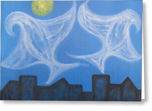 Peace Doves Greeting Cards - Peace Doves Over City Greeting Card by Patrick J Murphy