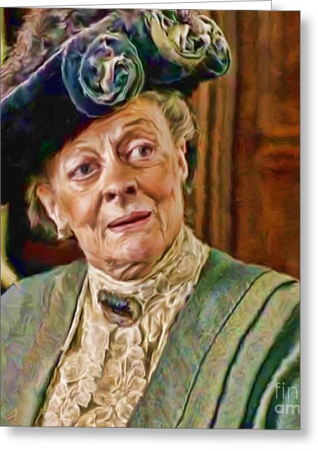 Crawley Greeting Cards - Dowager Countess of Grantham from Downton Abbey Greeting Card by Ted Guhl