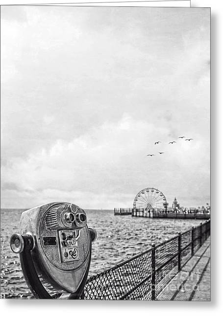 Saybrook Greeting Cards - Down at the Pier Greeting Card by Edward Fielding