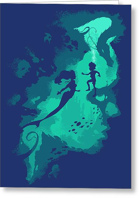 Blue Green Water Greeting Cards - Down Below Greeting Card by Christopher Ables