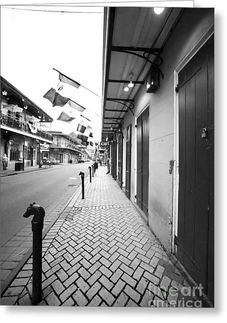 Crescent City Greeting Cards - Down Bourbon Street Greeting Card by John Rizzuto