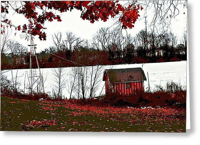 Shed Digital Greeting Cards - Down by the Pond Greeting Card by Tg Devore
