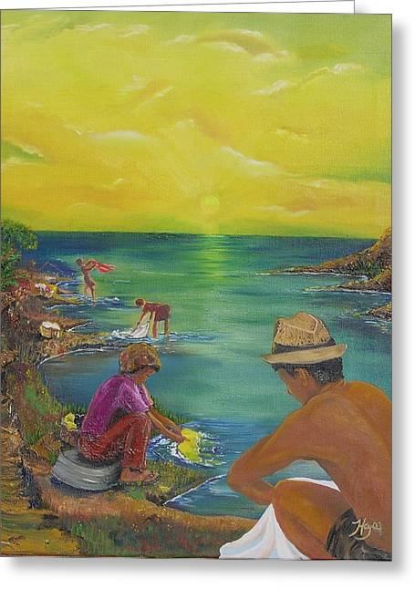 Van Dyke Brown Greeting Cards - Down by the River Greeting Card by Barbara Hayes