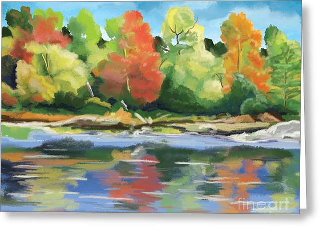 Turning Of The Leaves Paintings Greeting Cards - Down By The River Greeting Card by Tim Gilliland