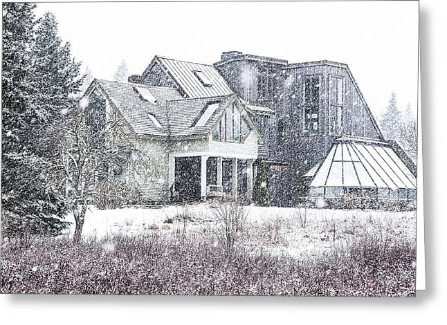 Maine Farmhouse Greeting Cards - Down East Maine Contemporary Farmhouse Greeting Card by Marty Saccone