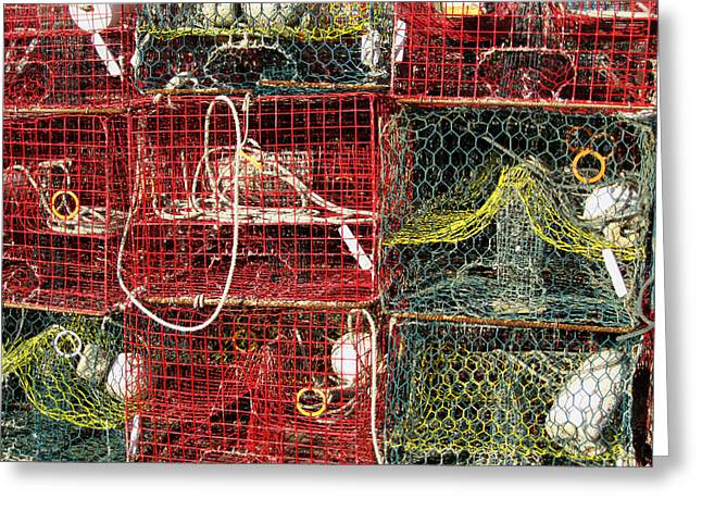 Harkers Greeting Cards - Down East Crab Pots Greeting Card by Karen Rhodes