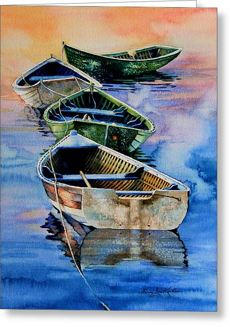 Row Boat Greeting Cards - Down East Dories At Dawn Greeting Card by Hanne Lore Koehler