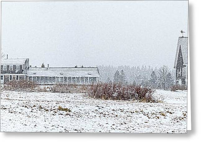 Maine Farms Greeting Cards - Down East Maine Farmhouse and Barn Greeting Card by Marty Saccone