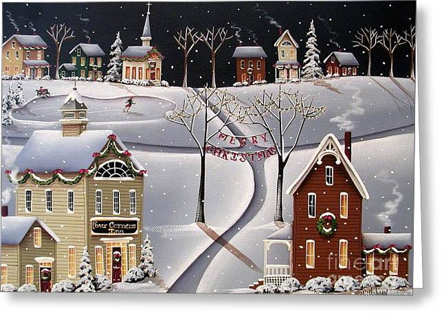 Skating Cottage Greeting Cards - Down Home Christmas Greeting Card by Catherine Holman