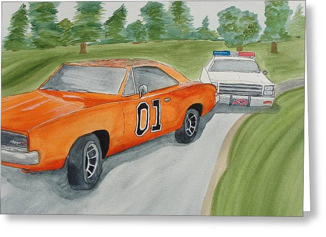 Dukes Of Hazard Greeting Cards - Down in Hazard county Greeting Card by Maureen Hargrove