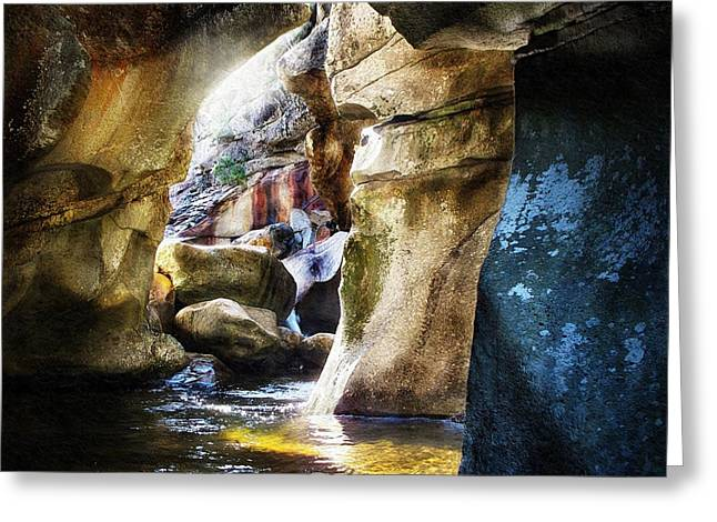 Babbling Digital Art Greeting Cards - Down In The Gorge At Screw Auger Falls Grafton Notch Greeting Card by Joy Nichols