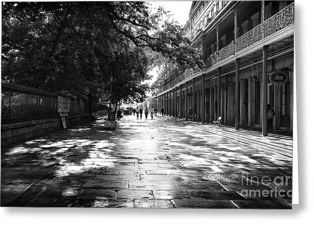 Walking Down The Street Greeting Cards - Down Jackson Square mono Greeting Card by John Rizzuto