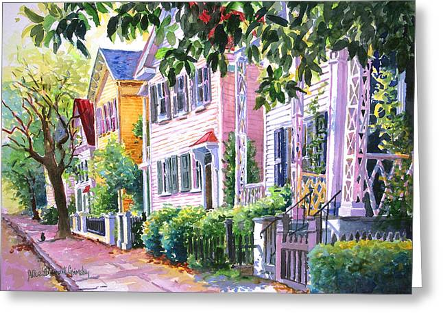 Charleston Greeting Cards - Down on Franklin Street Greeting Card by Alice Grimsley
