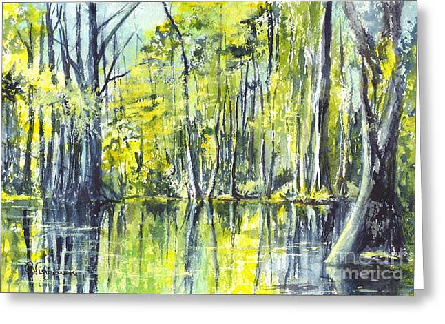 Cajun Drawings Greeting Cards - Down On The Bayou Greeting Card by Carol Wisniewski