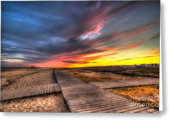 Ilha De Faro Greeting Cards - Down On The Boardwalk Greeting Card by English Landscapes