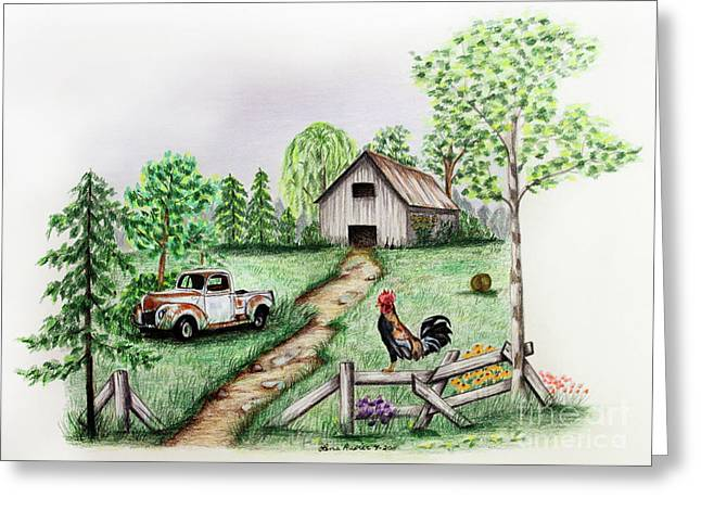Bale Drawings Greeting Cards - Down on the Farm Greeting Card by Lena Auxier