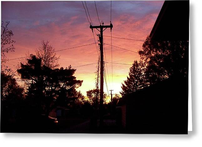Down The Alley Sunrise Greeting Card by Thomas Woolworth