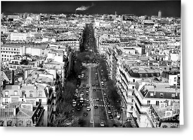 The Boulevards Greeting Cards - Down the Boulevard in Paris Greeting Card by John Rizzuto
