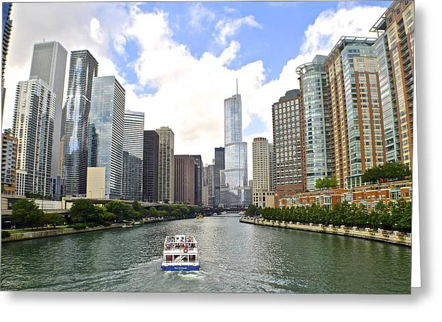 Chicago Bulls Greeting Cards - Down the Chicago River Greeting Card by Frozen in Time Fine Art Photography