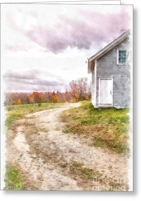 Country Lane Greeting Cards - Down the country lane Greeting Card by Edward Fielding
