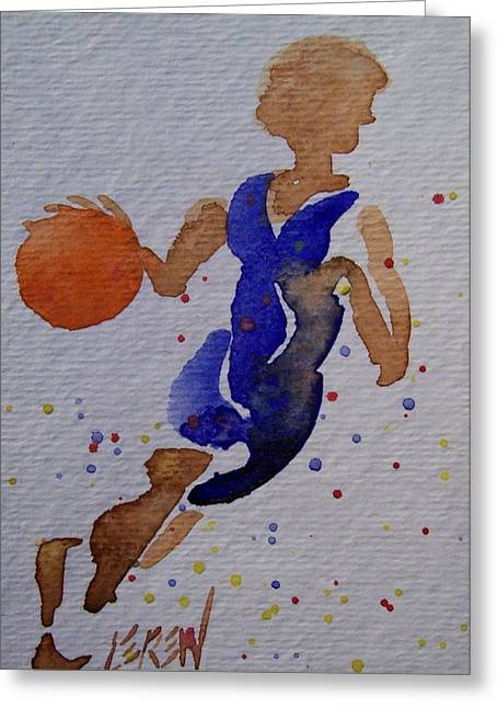 Scores Drawings Greeting Cards - Down The Court Greeting Card by Larry Lerew