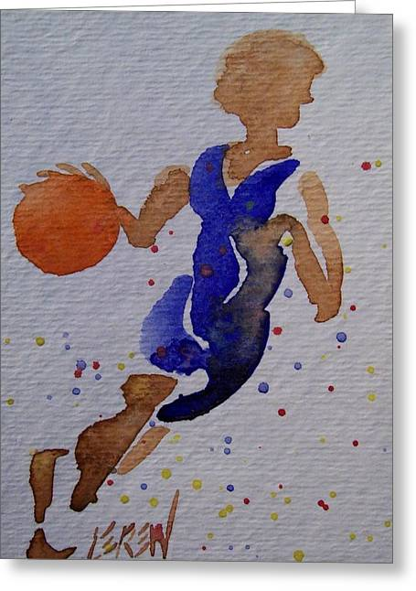 Basket Ball Game Greeting Cards - Down The Court Greeting Card by Larry Lerew