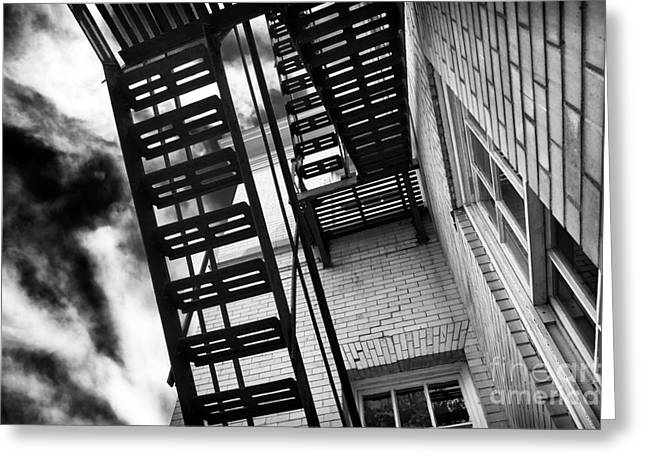 Down The Shore Greeting Cards - Down the Fire Escape Greeting Card by John Rizzuto