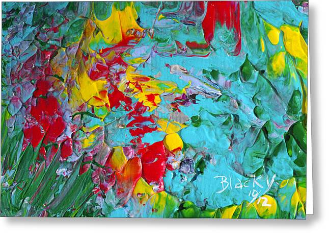 Abstract Expressionist Greeting Cards - Down The Garden Path Greeting Card by Donna Blackhall
