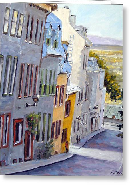 Quebec Paintings Greeting Cards - Down The Hill Old Quebec City Greeting Card by Richard T Pranke