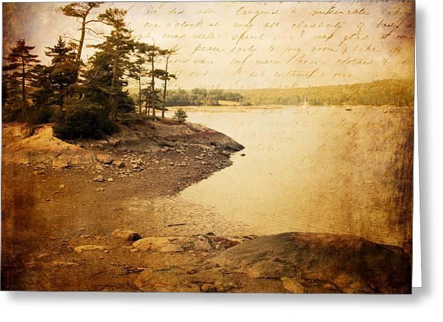 Coastal Maine Mixed Media Greeting Cards - Down the Path Greeting Card by Ericka O