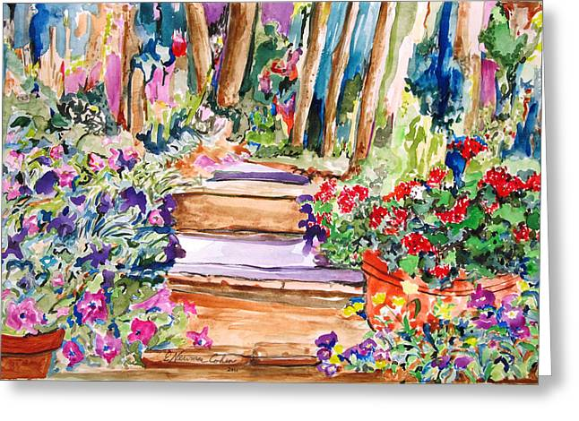 Stepping Stones Greeting Cards - Down the Path Greeting Card by Esther Newman-Cohen