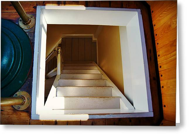 Pottawatomie Greeting Cards - Down the Rabbit Hole - Pottawatomie Lighthouse Greeting Card by Carol Toepke