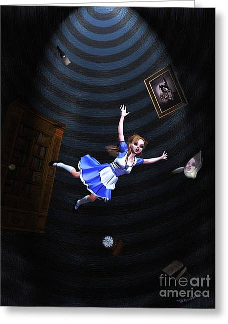 Fairytale Art Greeting Cards - Down The Rabbit Hole Greeting Card by Methune Hively