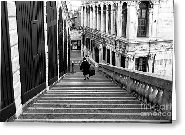 Walking Down The Street Greeting Cards - Down the Rialto Bridge Greeting Card by John Rizzuto